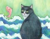 A Cat's Dream Interior Design~small cat art print ACEO 4x6 5x7 wall art deco room (8)