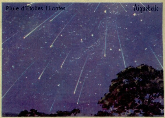 Vintage Starry Sky Print Shooting Stars Nature Art Print