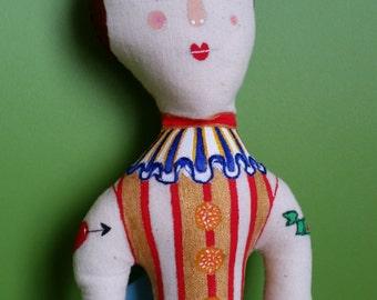 Handmade Art Doll- Clown - Circus Performer- Vintage Inspired