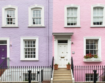 London Photography - Kensington and Chelsea, London, Pastel Houses, England Travel Photo, Large Wall Art, Home Decor