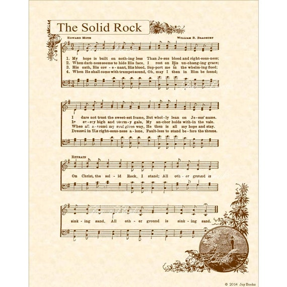 THE SOLID ROCK aka My Hope Is Built --- 8 x 10 Antique Hymn Art Print on Natural Parchment in Sepia Brown Ink Sheet Music