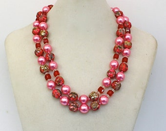Vintage 50s Bead Necklace 2 Strand Pink Red Plastic Glass & Nugget Beads W. Germany Signed