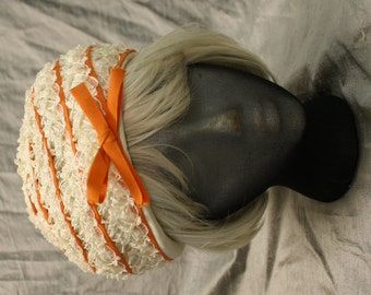 Vintage 1960's-1970's Orange and Cream Toque Turban