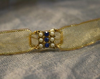 Vintage 1950's Pearl and Blue Rhinestone Buckle Ribbon Necklace