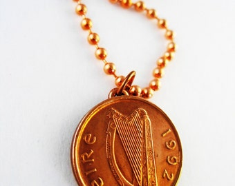 1992 Authentic IRISH 1 PENNY  Irish Coin Necklace