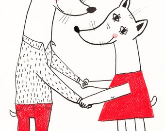 Love to be with you - INK ILLUSTRATION /  Pen drawing / Hold me tight / Black and white / Scribble / Animals drawings