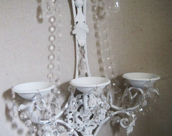 Pillar Candle Triple Wall Sconce in Snow White with Clear Crystals