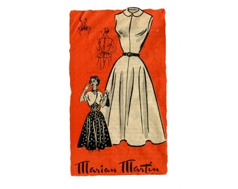 1950s Dress and Bolero Pattern Peplum Belt Accessory Sleeveless Peter Pan Collar Marian Martin 9170 Bust 34 UNPRINTED Vintage Sewing Pattern