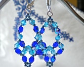 Earrings Cobalt Blue Aqua Beaded Chandeliers