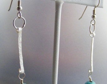 In the Swing of It:  Turquoise Howlite and Hand Forged Fine Silver Earrings