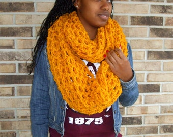 The Oversized Cowl / BIG Loop Scarf / Infinity Scarf/ Large Cowl, Large Neckwarmer Circle Scarf, in MUSTARD