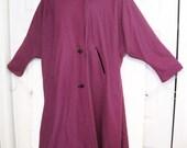 Reserved for gothbaker ****** vintage 80s purple wool swing coat black velvet hood big buttons