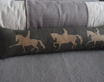 hand printed charcoal reversible dressage rider bolster