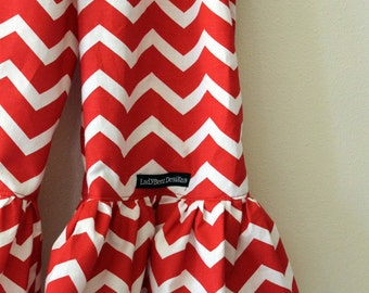 "Girls Ruffle Pants- Red and White Chevron - Made from Viola Lee Pattern ""Emma Lee"""