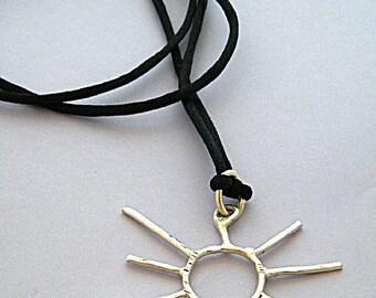 "925 St Silver Sunburst  Pendant on 30"" Silk Cord Necklace"
