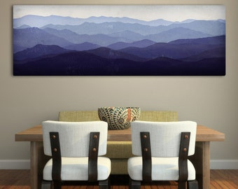 Mountain Memories Illustration - Smoky / Green - Mountains  Stretched Canvas Panel Ready to Hang Wall Art