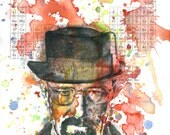 Breaking Bad Walter White Portrait Poster Print From Original Watercolor Painting - 8 X 10 in. Print Breaking Bad Poster Print