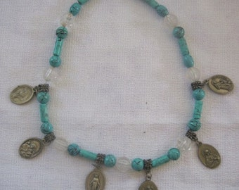 "SALE Vintage 'Milagros"" Saints Necklace Turquoise"