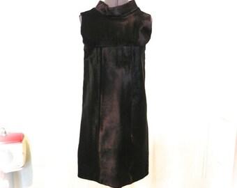 Vintage 60s Couture Black Fur Dress - Rare Cardinale Designer Calf Hair Pony Hair Dress - Black Leather 1960s Dress S