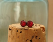 Little Bitty Pretties—Sterling Silver Rose Post Earrings—Vintage Glass Cabochon Studs--Ruby Red--Gift for Her Under 20