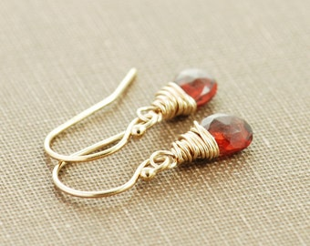 Garnet Earrings in 14k Gold Fill, January Birthstone Jewelry, Red Gemstone Dangle Earrings