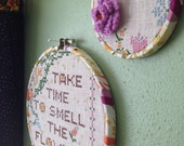 FREE Ship to US Addresses, Take Time To Smell the Flowers, Upcycled Needlework, Two Hoop Art Set