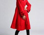 Red wool dress coat  winter warm coat   (406)