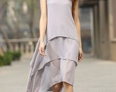 Grey dress woman maxi dress custom made chiffon dress layered dress sleeveless dress (932)