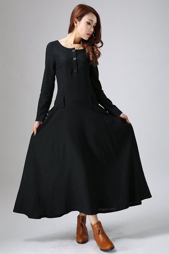 Black dress, maxi linen dress, womens dress ,long sleeve dress,casual dress, custom made dress, long dress, fall dress,Custom made dress 805