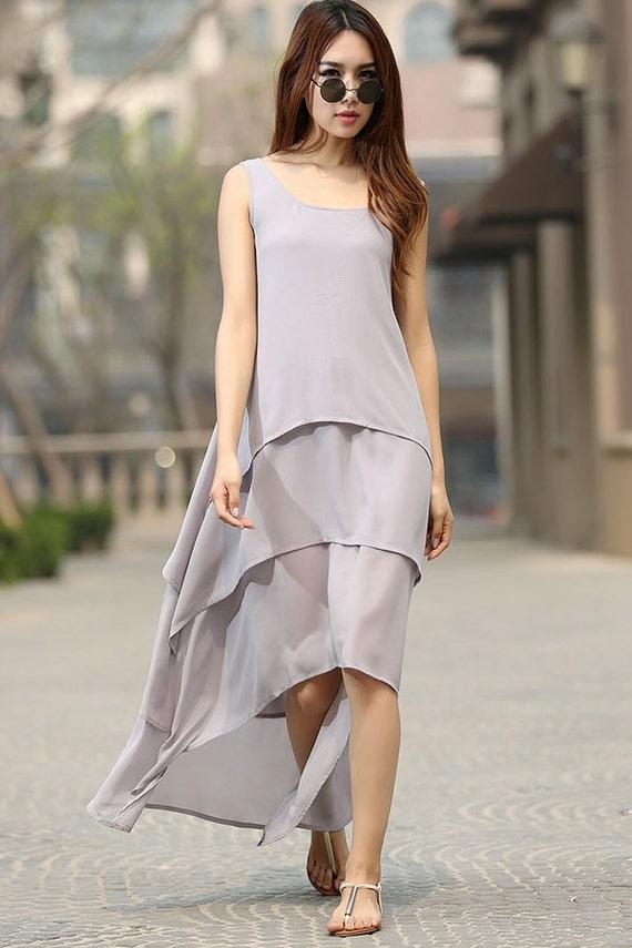 Grey dress woman maxi dress custom made chiffon dress layered dress sleeveless dress (932)