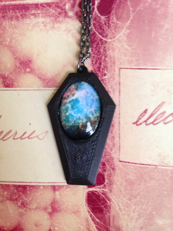 Coffin With Blue Galaxy Pendant