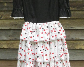 Vintage Tiered Dress with Full Circle Skirt Cherry Print  XS/S
