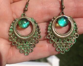 Hand Painted Metal Earrings w/ Fused Glass