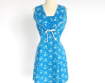 SALE 1970s Bue Floral Sailor-Style Dress - L