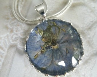 Colorado Sky Blue Love-In-The-Mist Blossom Beneath Glass Crown Pressed Flower Pendant-Symbolizes Love, Affection-Gifts Under 30-Nature's Art