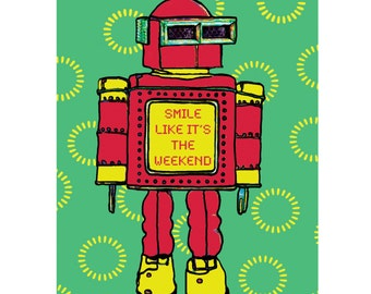 Colourful Vibrant Norman Robot 60s Retro Style Print Wall Art  A4
