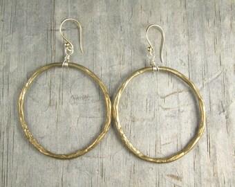 Gold Hoop Earrings - Circle of Life Earrings - Large Hoops - Ancient Bronze (EB-CHPL)