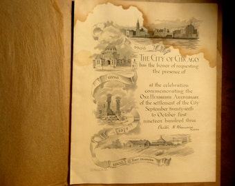 VINTAGE EPHEMERA ~ Chicago Centennial Invitation. 1903 Antique Historical Document