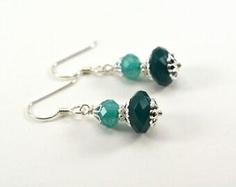Green Earrings Lightweight Sterling Silver Green Dangle Earrings Acrylic Teal Forest Green