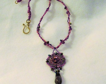 CLEARANCE PRICED - Hand Beaded Crystal Necklace in Shades of Purple
