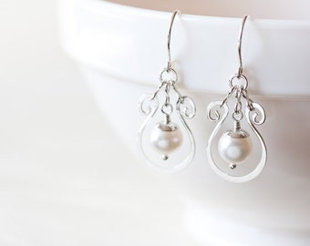 White pearl earrings, silver drop frame, hammered silver dangle, lightweight elegant white pearl sterling silver earrings