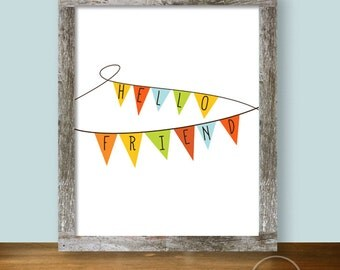 Hello Friend Pennant Bunting - Autumn 8x10 Instant Printable
