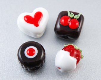 Lampwork Glass Chocolate Beads in a Tin, Faux Sweets, White Red, Heart, Flower