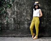 High Waisted Pants Green Mustard Trousers Citrus Rise Bottom Petite Winter Fashion Etsy Gift