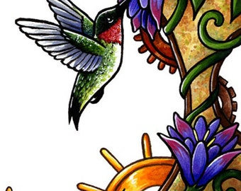 Art Print - Clockwork Hummingbird