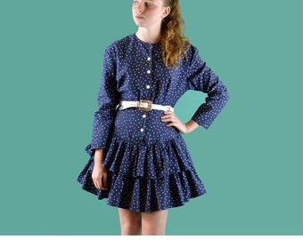 Vintage 80s Dress Navy Polka Dot Ruffle Skater Dress Drop Waist Dress Button Front Double Ruffle Hem Long Sleeve Mini Dress S / M