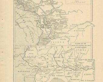 1910, Louis 14th Wars, Europe to 1715, French Ancient History Maps 14 & 15, School Atlas Page