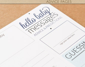 Baby Shower Advice Pages - BLUE