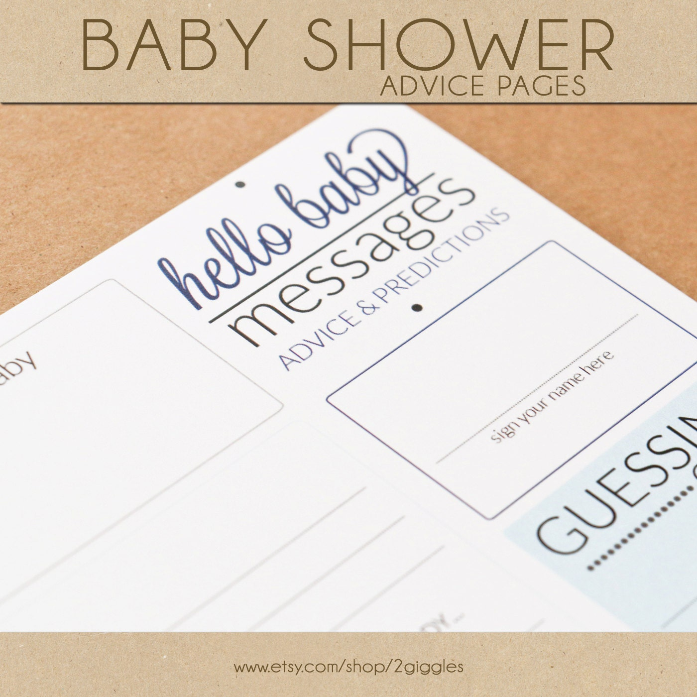 baby shower advice pages blue