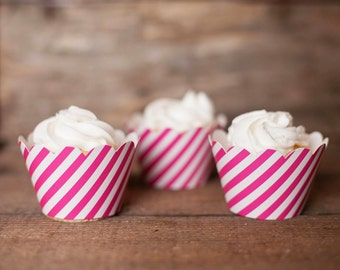 12 Cupcake Wrappers - Hot Pink Striped Cupcake Wrappers - Pink Stripe Wrappers - Great for Birthday Parties, Baby Showers & Bridal Showers
